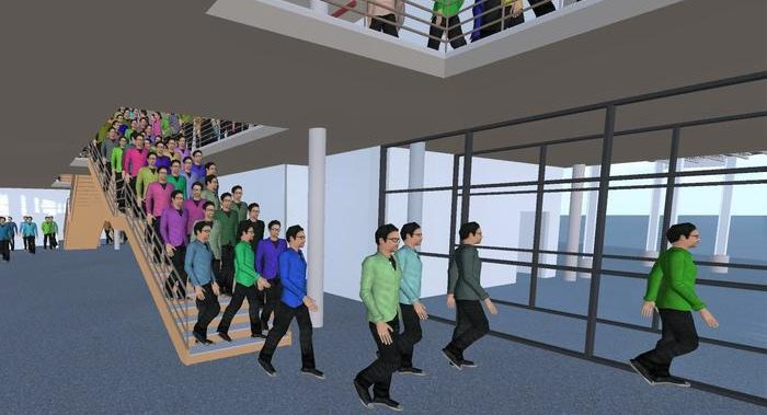 3D visualization of an evacuation simulation with crowd:it.